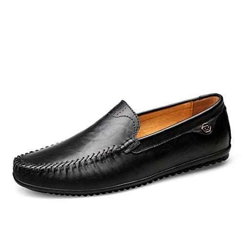 Mocasines Cuero Hombre Verano Artesanal Hilo de Coser Classic Oficina Viajar Zapatos Formales,Negro 43 EU