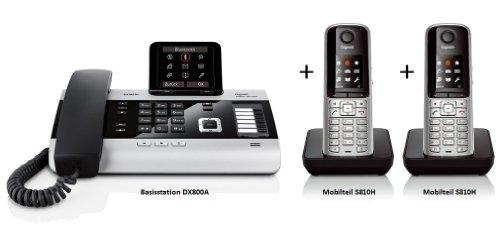Gigaset DX800A DUO SET mit 2x S810H Mobilteil in STAHLGRAU