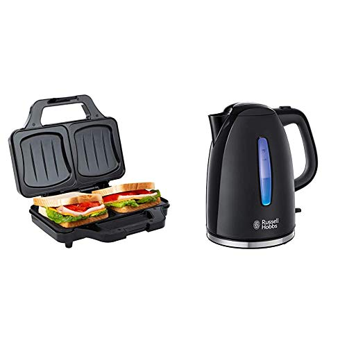 Ultratec Sandwichtoaster (900 Watt, Sandwich Maker für XXL Toast) schwarz-Silber & Russell Hobbs Wasserkocher Textures+, 1,7l, 2400W, Teekocher schwarz 22591-70 [Energieklasse A+++]