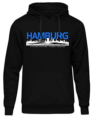 uglyshirt Premium Hamburg Fan Pullover - Fußball Hoodie - Hansestadt Kapuzenpullover Herren - Geschenk für Männer - Skyline Hamburg - einzigartiges Design - 80% Baumwolle, 20% Polyester