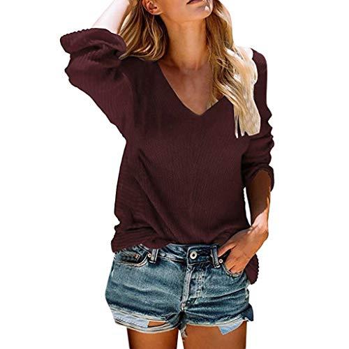 TOPKEAL Damen Frauen Sexy V-Ausschnitt Einfarbiger Pullover Fashion Sweater Knit T-Shirt Langarm Oberteile Bluse (Wein, L)