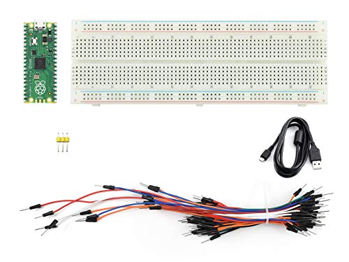 Ingcool Raspberry Pi Pico Starter Kit, Placa de Microcontrolador Basada en Chip RP2040, Procesador Arm Cortex M0+ de Doble Núcleo, 133MHz, Incluye Pico, Placa de Pruebas, Cable MicroUSB, etc.