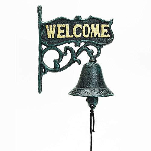 Sungmor Heavy Duty Gietijzer Rustieke Stijl Wandmontage Welcome Sign Hand Bell | 16×18.7cm, Donker Groen | Aristocratische Logo Smeedijzeren Deurbel | Klassieke Sculptuur voor Tuin Patio Villa Cafe,etc