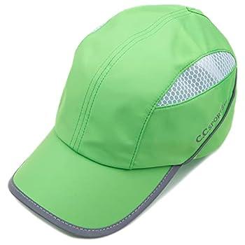 HATSANDSCARF Reflective Water Resistant Mesh Marathon Jogging Sporty Cap  BT-772   Ponytail-Leon Lime White
