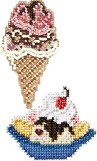 2 Kit Bundle, Counted Glass Beads :Triple Scoop Ice Cream Cone and Banana Split - YUM
