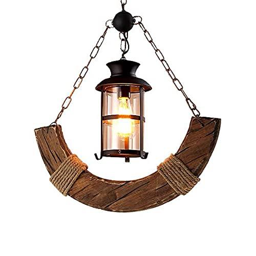 YIYUN Industrial Lámpara, Lámparas Colgantes Vintage Decorativa, Lámparas De Araña Madera, Cristal Tulipas, Lámpara De Techo Colgante E27 Lámparas Decorativas Techo