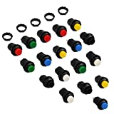 OFNMY 18Pcs 12mm Self-Locking Latching Push Button Switch Off-ON (DS-428)