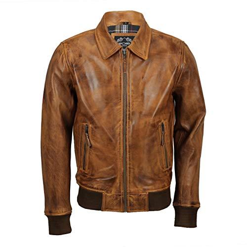 Xposed Chaqueta de bombardero de cuero auténtico para hombre, estilo vintage, color negro, marrón tostado