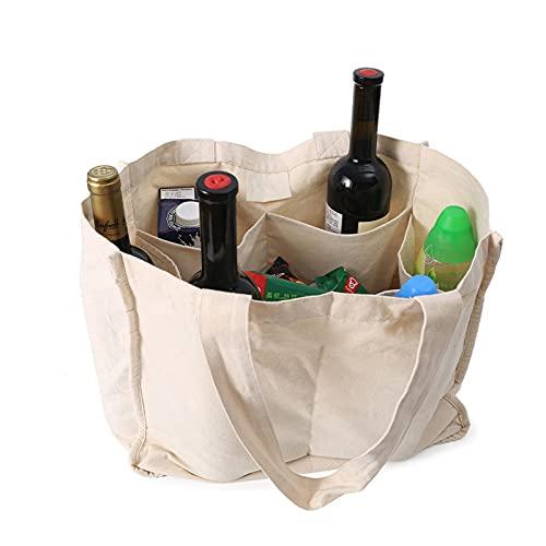 ZOVCO Bolsa para la compra de algodón de gran capacidad, plegable y ecológica, reutilizable, portátil, con 6 bolsillos separados, de algodón – 40 x 33 cm