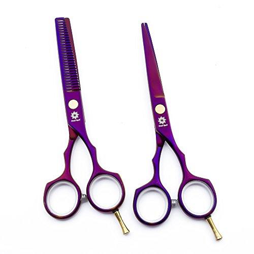 Dream Reach - Tijeras de peluquería de acero inoxidable japonés para peluquería y tijeras de entresacar para peluquería, uso familiar y profesional (violeta)