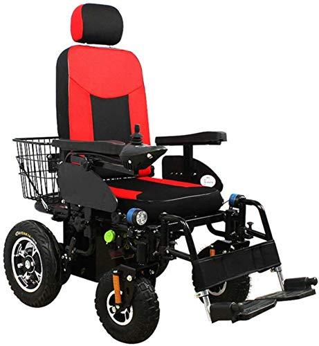 Silla de Ruedas eléctrica, Silla de ruedas eléctrica automática inteligente for trabajo pesado con silla de ruedas cómodo Powerchair con respaldo ajustable for adultos de 4 ruedas motonetas todo terre ✅