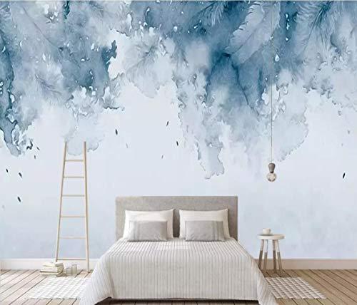 Fototapete 3D Effekt Von Hand Bemalt Nordeuropäischen Blaue Aquarell Schöne Gefiederten Hintergrund Mauer Tapete Vliestapete Wandbilder Wanddeko (400cmx280cm)