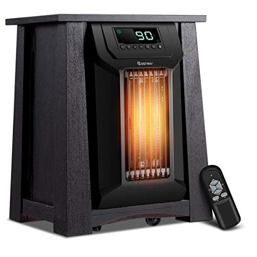 COSTWAY Infrared Quartz Heater, 1500 W Electric Space Heater with 12H Timer, Remote, LED Display Screen, Programmable Thermostat, Oscillating Tower Heater for Home, Office, Bedroom, Indoor use