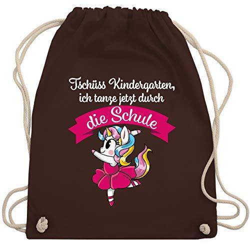 Shirtracer Einschulung und Schulanfang - Tschüss Kindergarten ich tanze jetzt durch die Schule Einhorn Ballett pink - Unisize - Braun - Spruch - WM110 - Turnbeutel und Stoffbeutel aus Baumwolle