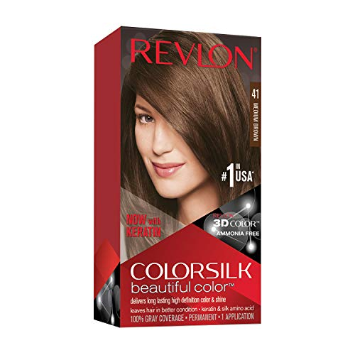 REVLON Colorsilk Beautiful Color Permanent Hair Color with 3D Gel Technology & Keratin, 100% Gray Coverage Hair Dye, 41 Medium Brown
