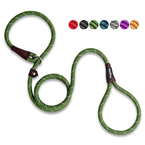 PetiFine 6 FT Slip Lead Dog Leash, Full Reflective Dog Training Leash, Heavy Duty Adjustable Pet Nylon Slip Rope Lead for Small Medium Large Dogs(Green)