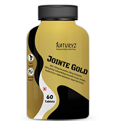 Naturyz Jointe Gold with 1500mg Glucosamine, 600mg Chondroitin, 300mg Methyl Sulfonyl Methane, Boswellia, Turmeric, Rosehip, Hyaluronic Acid and Ginger Root for Joint - 60 Tablets