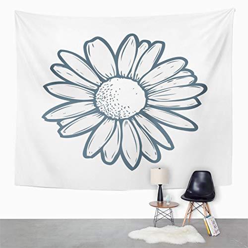 Y·JIANG Tapiz de flores de manzanilla, manzanilla, diseño floral, línea de garabateo, diseño de pétalos, decoración para el hogar, dormitorio, 203 x 152 cm