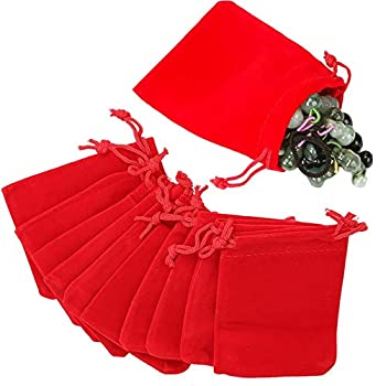 GYBest Best  50/100/200  Pack 3  X 4  Wholesale Promotion - Red Velvet Cloth Jewelry Pouches/Drawstring Bags  50 Red