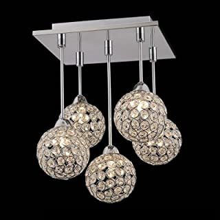 hua Gracefully 5-Light Crystal Globe Shades and Stainless Steel Canopy Multi-Light Pendant
