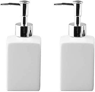 Fivtyily 2 PCS Durable Ceramic Liquid Hand Soap Dispenser Pump Bottle Stylish Hand Lotion Bottle for Kitchen Bathroom (White)