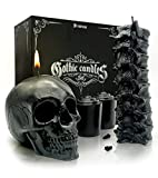 Spine & Skull Candle Set - Scented 4 Pack - Gothic Decor for Bedroom - Black Skull Decor for Home - Goth Room Decor - Kitchen Witch Decor - Gothic Room Decor - Halloween Candle Decoration Indoor