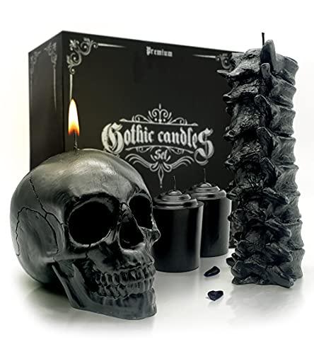 Gavia Skull Candle Set - Scented 4 Pack - Gothic Decor for Bedroom - Black Skull Decor for Home -...