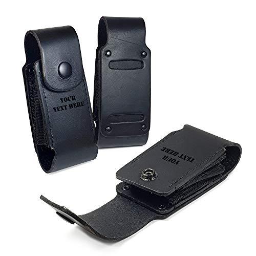 TUFF LUV Personalisierte Echt Leder Holster Hülle Tasche Für Leatherman Super Tool 300 / Surge - WP503 - Schwarz