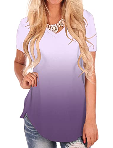 Lilac T-Shirt Women Summer Blouse Shortsleeve V-Neck Tops Casual Slim Fit Tee S