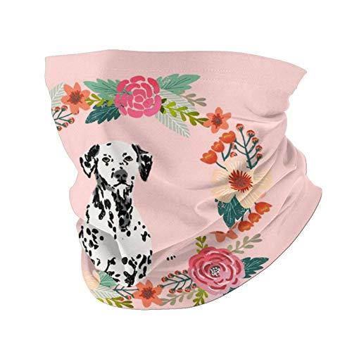 Ccycjasdkfewl Dalmatian Wreath Florals - Pañuelo, cubierta de la cara, toalla de cara versátil con bolsillo interior, bufanda para la cabeza