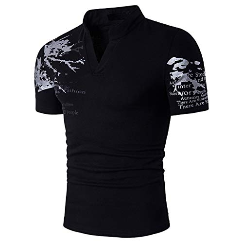 Yowablo Herren Poloshirt Polohemd Shirt Basic Polo Slim Fit V-Ausschnitt Kurzarm Muscle Casual (M,2Schwarz)