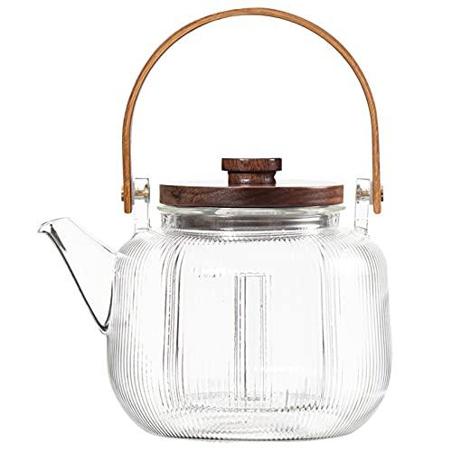 BAIYA Glass Teapot,Stovetop Safe Glass Tea Kettle with Infuser,for Tea and Coffee,Borosilicate Tea Pot for Loose Tea (Vertical lines)