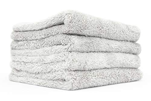 The Rag Company - Eagle Edgeless 500 - Professional Korean 70/30 Blend Super Plush Microfiber Detailing Towels, 500GSM, 16in x 16in, Ice Grey (4-Pack)