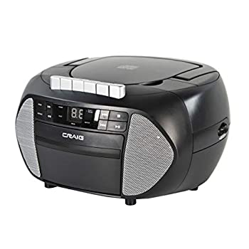Craig CD6951-SL Portable Top-Loading CD Boombox with AM/FM Stereo Radio and Cassette Player/Recorder in Black and Silver | 6 Key Cassette Player/Recorder | LED Display |