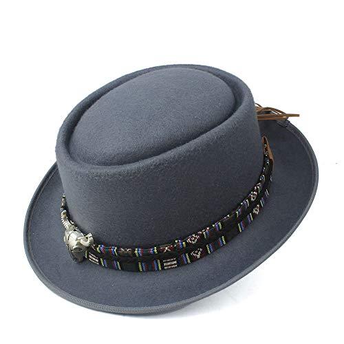 GAOERJI Mode mannen vrouwen Pork Pie hoed met koe kop lederen band Panama Hoed Jazz Church Fascinator Hoed Maat 58 cm