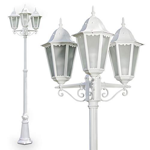 Außenleuchte 3-armig, Kandelaber in Weiß, 3 x E27 60 Watt, Gartenbeleuchtung aus Aluguss mit echten Glasscheiben, Laterne für den Aussenbereich, Wegeleuchte Garten, Höhe 220 cm, Vintage-Design