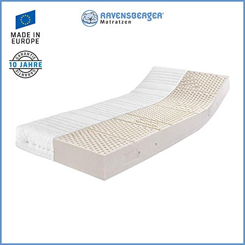 Ravensberger Matratzen Natur-Latex 7-Zonen-Premium-Latexmatratze | H2 RG 75 (45-80 kg) | Made IN Germany | LATEXCO®-Stiftlatex mit 85{c5aa1f8db542cda201af9c5d42504cdd03b51bae57e5136f295130969b60293c} Naturkautschuk | Baumwoll-Doppeltuch-Bezug | 90 x 200 cm