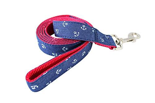 CANIPSUM | Marken Hundeleine mit Handschlaufe | Länge 150cm | rotes Nylon, blauer Stoff mit weißem Ankermuster | sehr stabil | für große und kleine Hunde | Designer Führleine | Trainingsleine