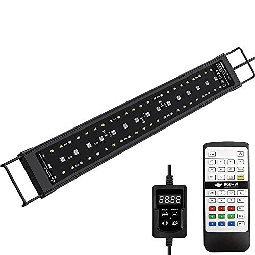 NICREW SkyLED RGB+W 24/7 LED Acquario, Luce Acquario Impermeabile a Spettro Completo con Timer per Piante Acquatiche, Lampada Acquario 42-55cm, 17 W, 850 Lumen