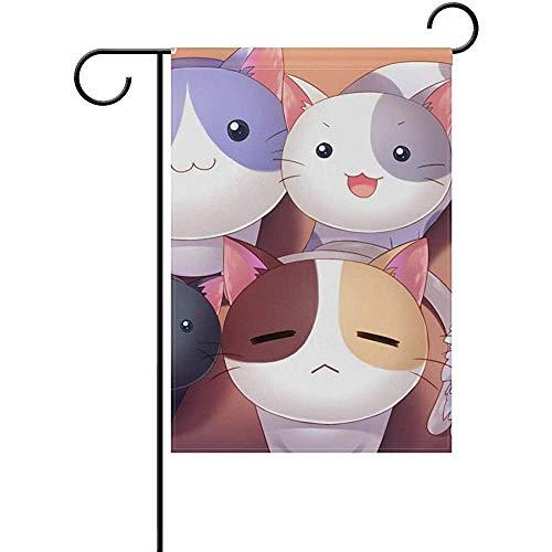 Hao-shop decoratieve wekker, kleurrijk, Cat Kitty Garden Flag voor de decoratie buitenshuis voor het erf