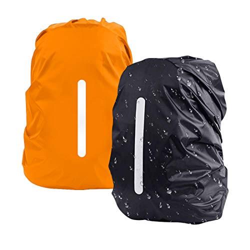 DFK Copertura Riflettente per Zaino, [2pacci M 26-40L] Impermeabile Zaino Copertura Antipioggia per Escursionismo Campeggio Ciclismo Nero Arancione