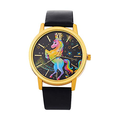 AIUIN Uhren Damen PU Armbanduhren Günstige Uhren Casual Analoge Quarz Uhr Einhorn Armband Coole...