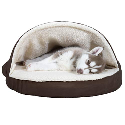Furhaven Pet Dog Bed - Orthopedic Round Cuddle Nest Faux...