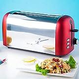 HYwot Edelstahl Toaster, 2-Scheiben Toaster mit 6 Brotschattierungseinstellungen und Extra Breiten Schlitzen, Auftau/Bagel/Abbruch/Aufwärmfunktion, Herausnehmbarer Krümelbehälter,Rot
