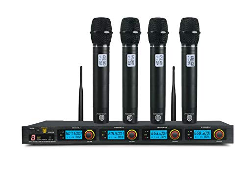 PRORECK MX44 4-Channel UHF Wireless Microphone System with 4 Hand-held Microphones Karaoke Machine for Party/Wedding/Church/Conference/Speech
