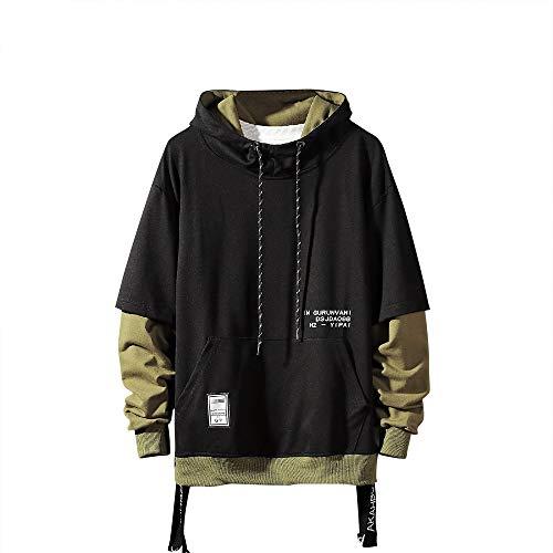 GURUNVANI Contrast Color Pullover Hoodie Mens Patchwork Hoodies Men (Black, Small)