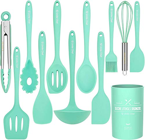 Umite Chef 12-teiliges Silikon-Küchenutensilien-Set, hitzebeständig, BPA-frei, Antihaft, mit Pfannenwender, buntes Küchenwerkzeug mit Utensilienhalter, Küchenhelfer-Geschenk, Grün