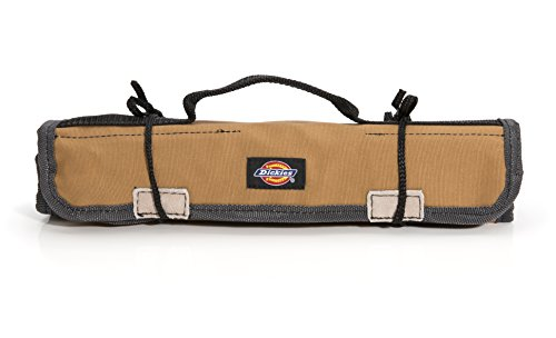 Dickies Small Wrench/Screwdriver Organizer Roll for Mechanics, 16 Tool Pockets, Durable Canvas Construction, 13.5 in. x 12.75 in. Unrolled, Grey/Tan