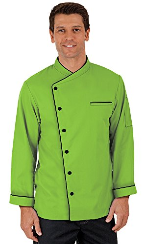 Men's Long Sleeve Chef Coat with Piping (XS-3X, 3 Colors) (X-Small, Apple Green)