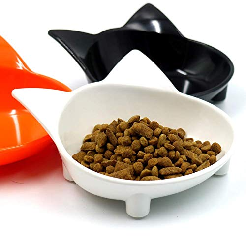 Lanbowo Whisker Relief Ceramic Cat Dish, Shallow Wide Cat Saucer Kitten Food Bowl Whisker Stress Free, Cute Bright Coloured